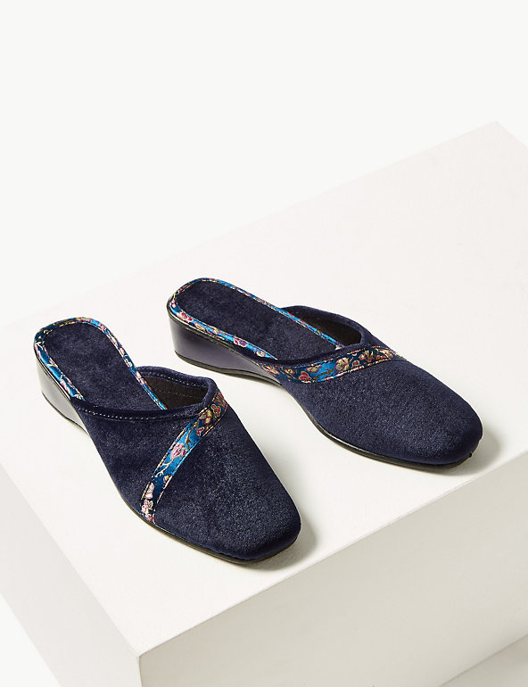 Women/'s Ex MNS Floral Braid Wedge Heel Mule Slippers Shoes Navy UK 5 7 6