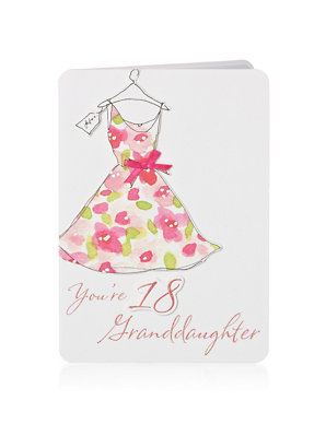Floral Dress 18 Granddaughter Birthday Card