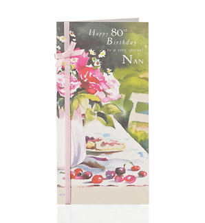 Floral Garden Scene 80th Nan Birthday Card