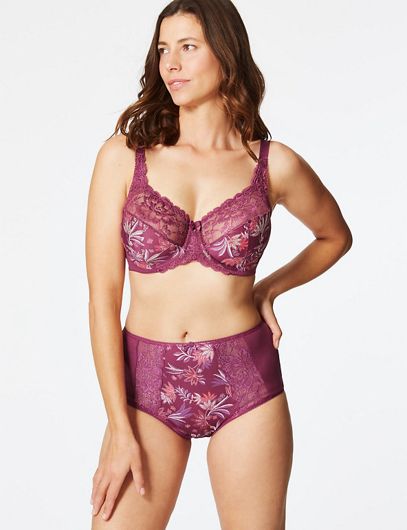 42E Bra M/&S CollectionFloral Jacquard Lace Non-Padded Full Cup Bra