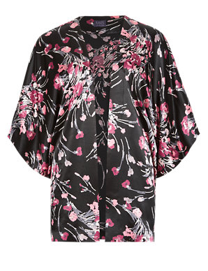 Marks /& Spencer Bright Pink Floral Patterned Dark Blue Kimono Jacket