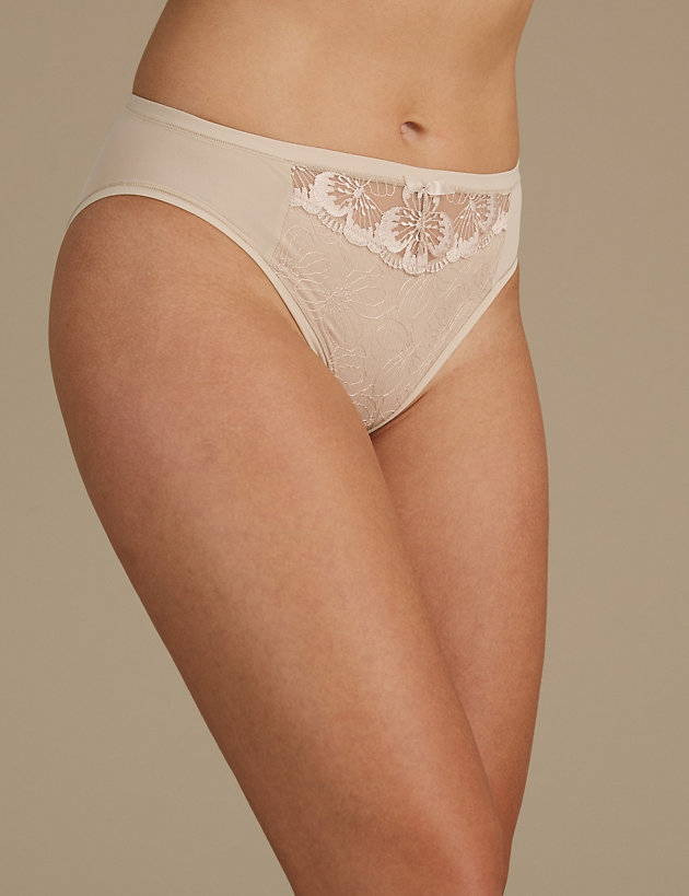 M/&S COLLECTION Women/'s  Floral Lace Embroidered High Leg Knickers NEW!!