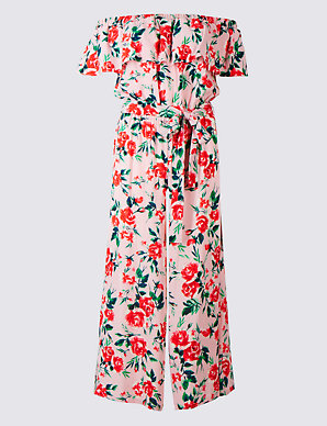 50% price authentic quality where can i buy Floral Print Bardot Jumpsuit