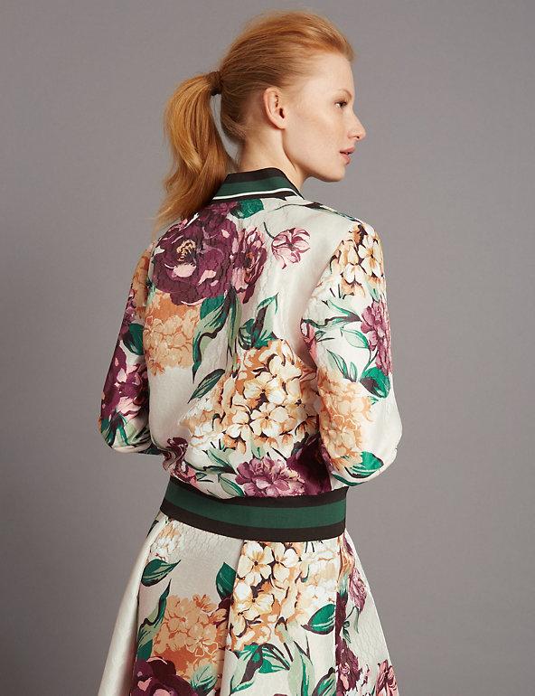 New M/&S Autograph Mult-Coloured Floral Print Bomber Jacket Sz UK 14