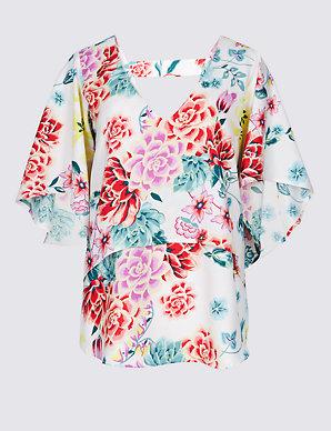 3b89357565 Floral Print Crepe V-Neck Sleeve Blouse