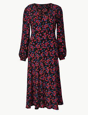134ab3a4da8 Floral Print Fit   Flare Midi Dress