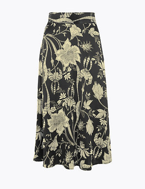 MARKS /& SPENCER COLLECTION FLORAL PRINT MIDI A LINE SKIRT Sizes 8 to 20