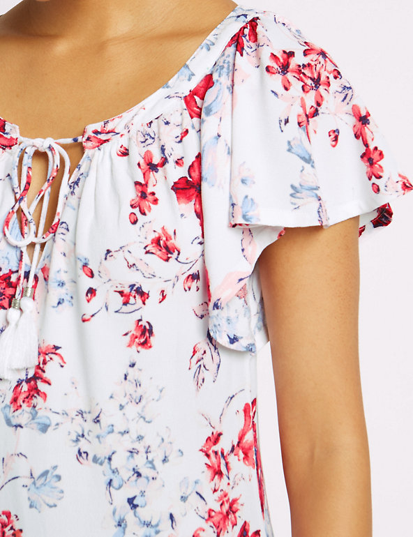 MARKS AND SPENCER FLORAL PRINT FRILL SLEEVE SWING MIDI DRESS M/&S COLLECTION