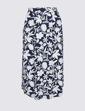 8871fd107f77 Floral Print Jersey A-Line Midi Skirt | M&S Collection | M&S