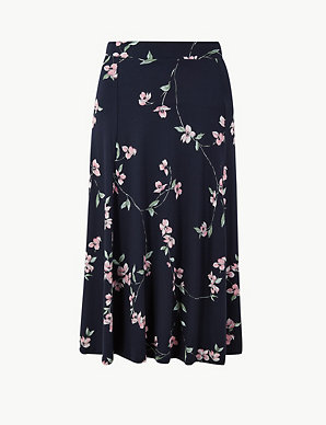 76457d144fc6 Floral Print Jersey Fit & Flare Midi Skirt | M&S Collection | M&S