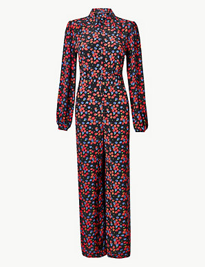 moderate price best quality for check out Floral Print Long Sleeve Jumpsuit