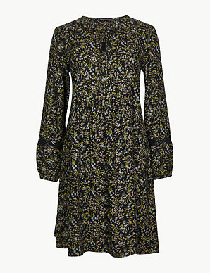 68d262fd9823 Floral Print Long Sleeve Relaxed Mini Dress   M&S Collection   M&S