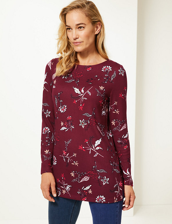 Marks /& Spencer Classic Long Line Print Tunic Long Sleeved Orig price £35
