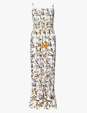 2bc80666bd Floral Print Shirred Slip Beach Dress