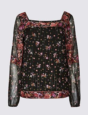 e59da59bb42 Floral Print Square Neck Puff Sleeve Blouse