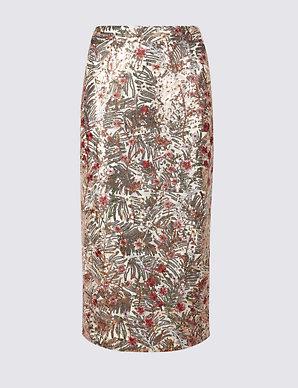 fcf3b9a7fc31f Floral Sequin Pencil Skirt | Per Una | M&S