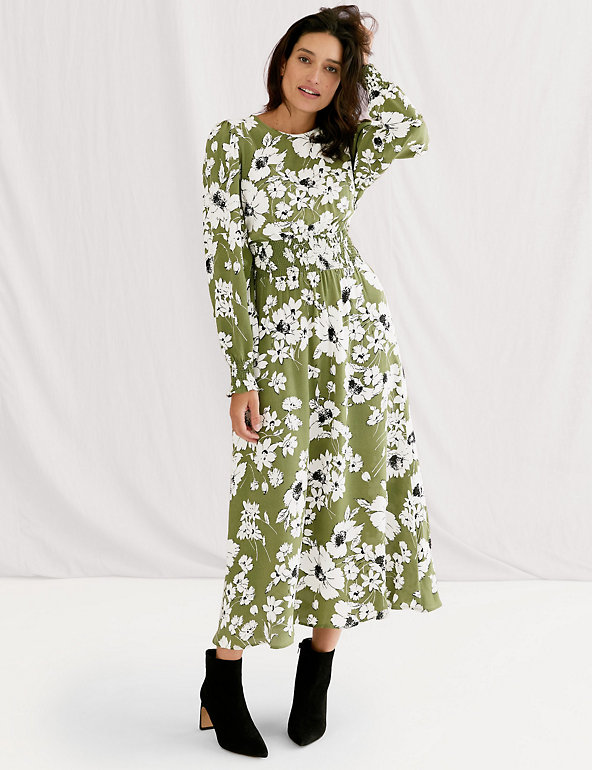 Floral Shirred Midi Waisted Dress Image 1 of 7