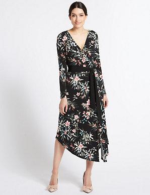 8e141062af71 Floral Wrap Midi Dress | Per Una | M&S