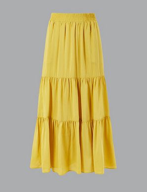 bc9ce201b2 Gathered Tiered Maxi Skirt | Autograph | M&S