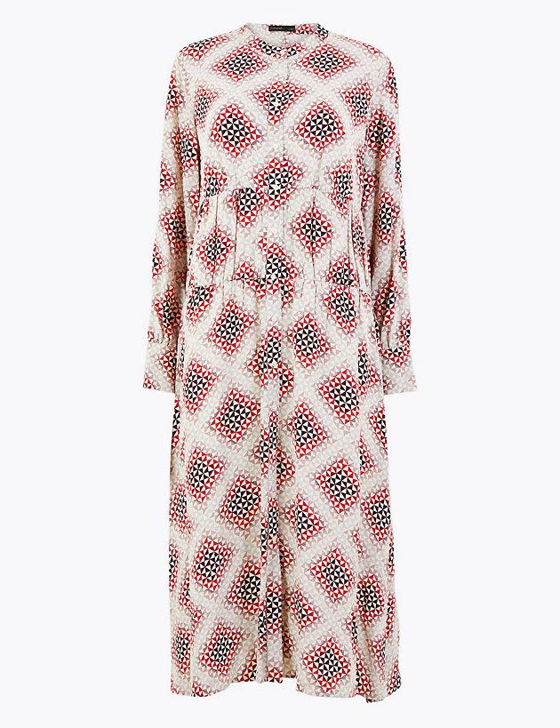 Geometric Print Relaxed Midi Dress