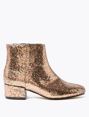 Glitter Low Block Heel Ankle Boots