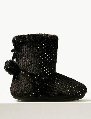 73d89eb97f8e Glitter Spotted Slipper Boots | M&S Collection | M&S