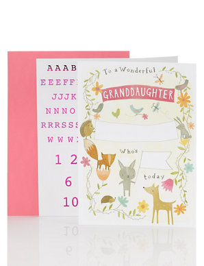 Granddaughter Personalise With Stickers Birthday Card