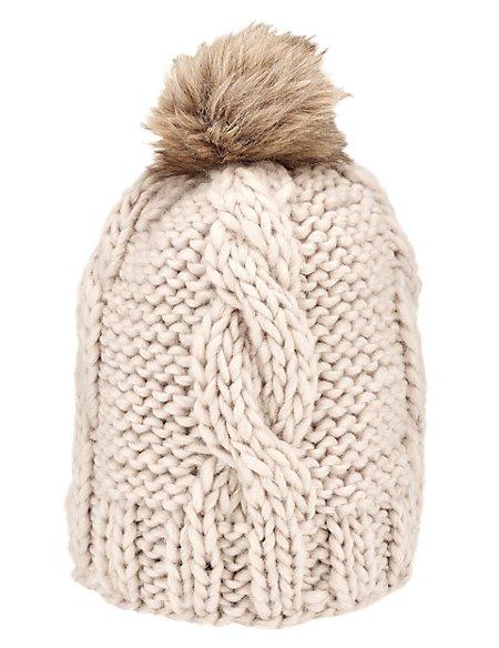 Faux Fur Pom-Pom Beanie Hat with Wool