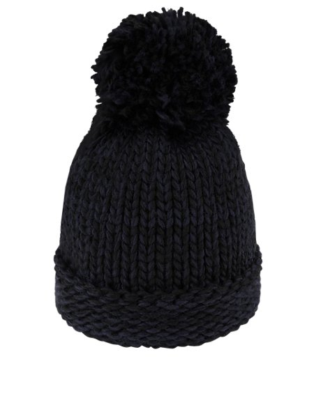 Two Tone Bobble Hat with Wool