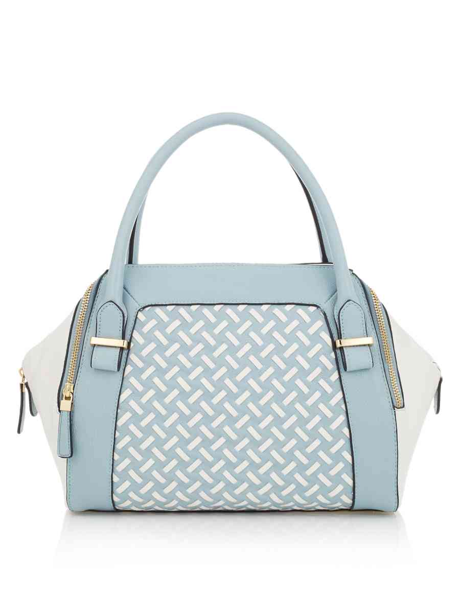 Faux Leather Weave Bowler Bag  f66bfb779cb3c