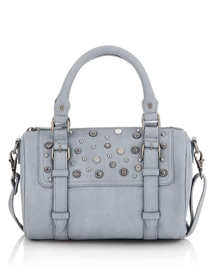 Faux Leather Studded Bowler Bag  2cdb3b808da31