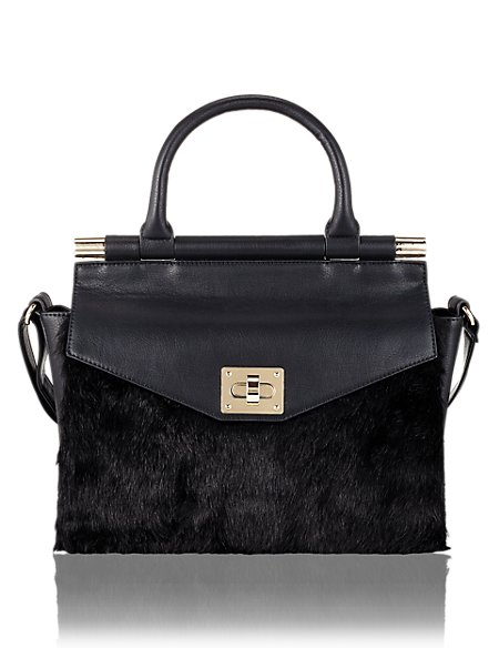 Product images. Skip Carousel. Faux Fur Leather Top Handle Tote Bag 8c145141aa182