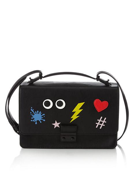 Faux Leather Novelty Top Handle Satchel Bag