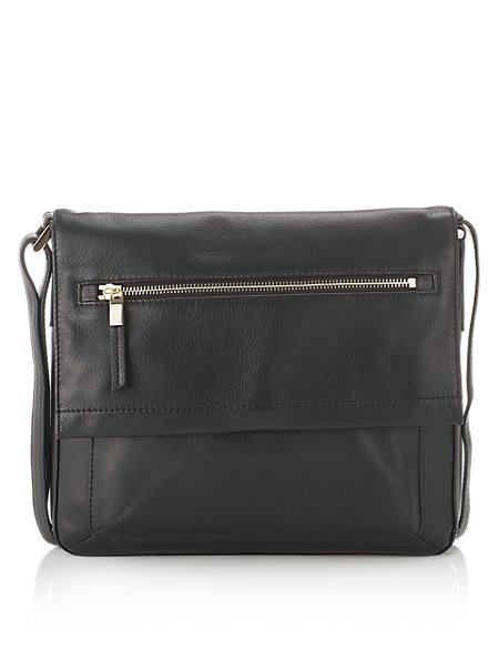 Leather Front Zip Messenger Bag