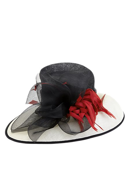 Faux Feather Large Bow Hat