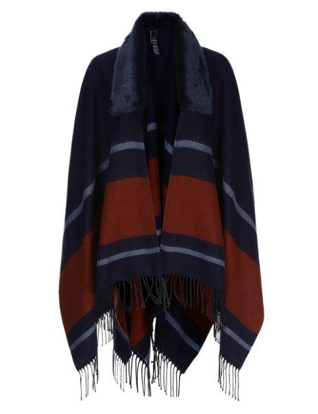 Faux Fur Collar Striped Wrap