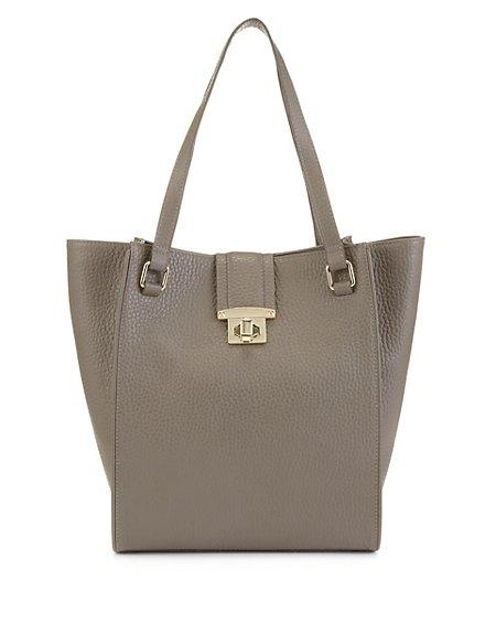 Leather Tab Shopper Bag