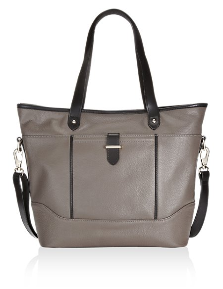Leather Contrast Trim Shopper Bag