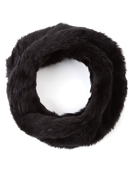 Faux Fur Twisted Snood Scarf