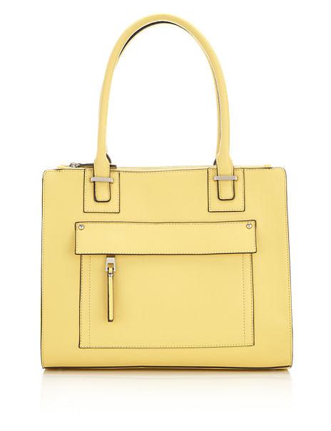 Faux Leather Concealed Pocket Tote Bag