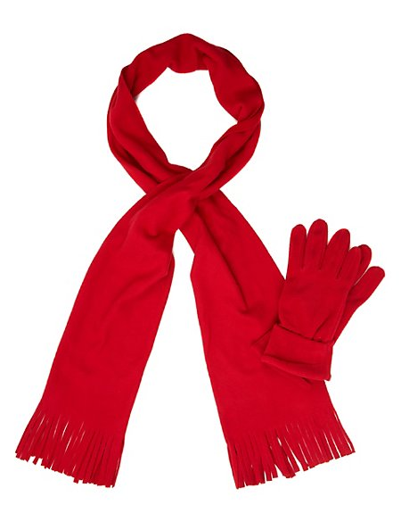 Fleece Scarf & Gloves Set