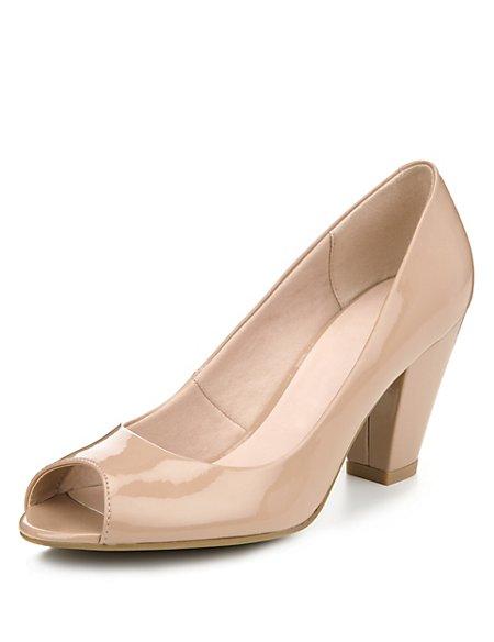 Peep Toe Patent Court Shoes