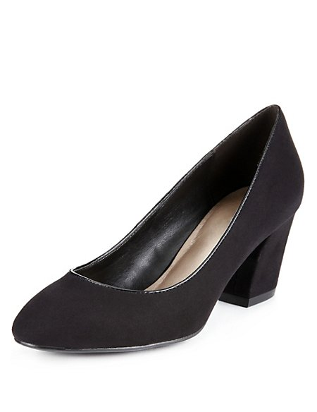 Faux Suede Block Heel Court Shoes with Insolia®