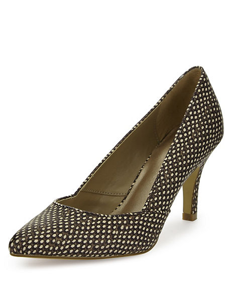 Animal Print Pointed Toe Court Shoes with Insolia®
