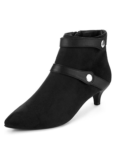 Faux Suede Double Strap Button Ankle Boots with Insolia®