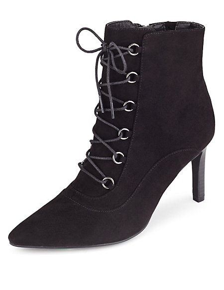 Lace Up Pointed Toe Ankle Boots with Insolia®