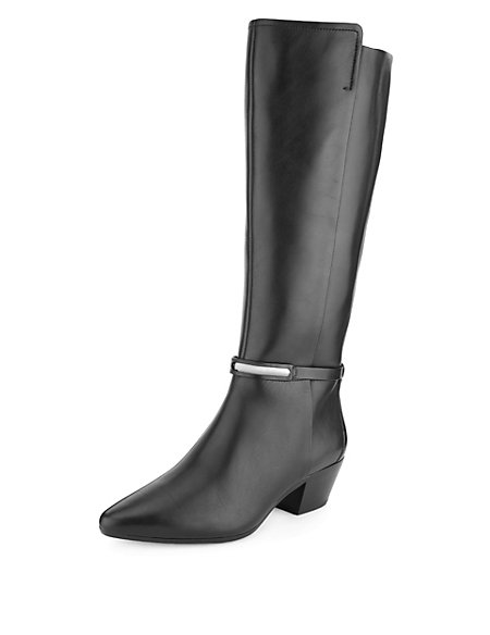 Leather Pointed Toe Long Boots with Stretch Zip & Insolia®