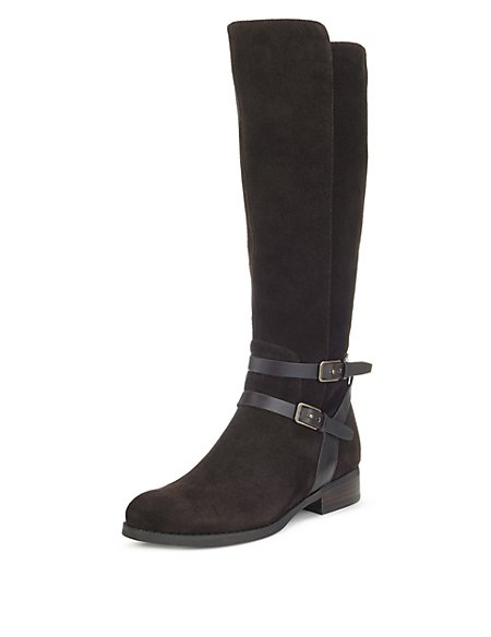 Stain Away™ Suede Flat Rider Knee Boots with Insolia Flex®