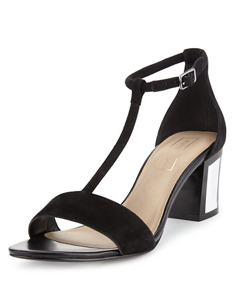 Suede Clear Heel T-Bar Sandals with Insolia®