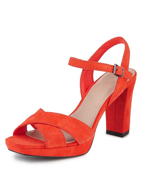 Suede Platform High Heel Sandals with Insolia®